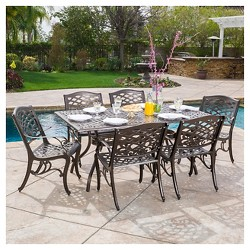Hallandale Sarasota 7pc Cast Aluminum Dining Set - Hammered Bronze - Christopher Knight Home