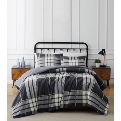 Milo Plaid Flannel Comforter Set Gray - Truly Soft