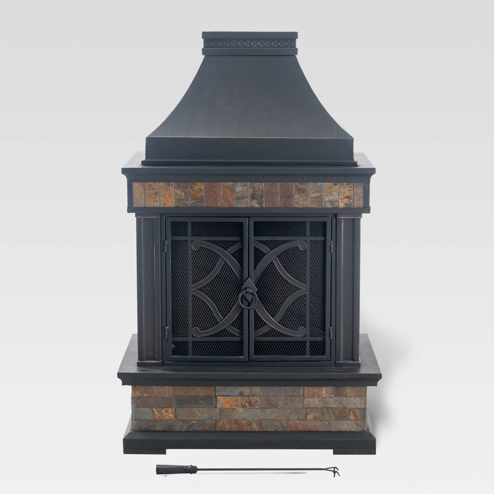 Heirloom Slate Fireplace Black - Sunjoy