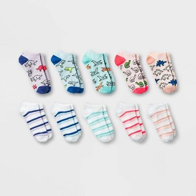 Women's Dinosaurs and Stripes 10pk Low Cut Socks - Xhilaration™ Pink/Blue/Purple 4-10