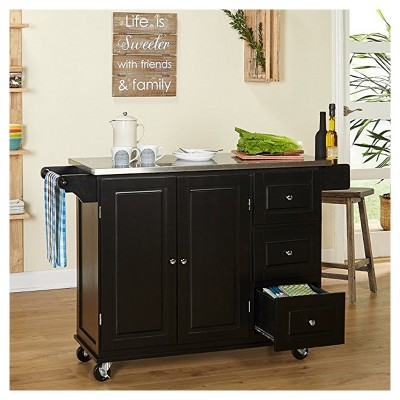 Aspen Kitchen Cart with Stainless Top - Black