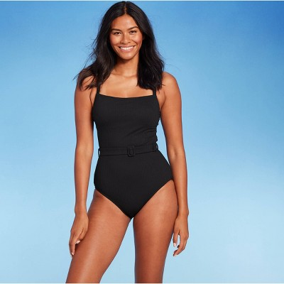 Women's Ribbed Classic Coverage One Piece Swimsuit - Kona Sol™ Black