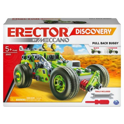Erector by Meccano Discovery  3-in-1 Deluxe Pull-Back Buggy STEAM Model Building Kit,