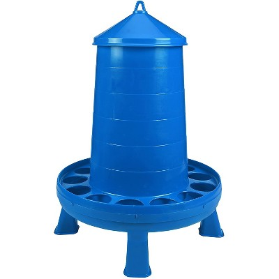 Little Giant 35 Pound Poultry Chicken or Bird Feeder Dispenser Container with Feed Saver Ring, Carrying Handle, and Detachable Legs, Blue