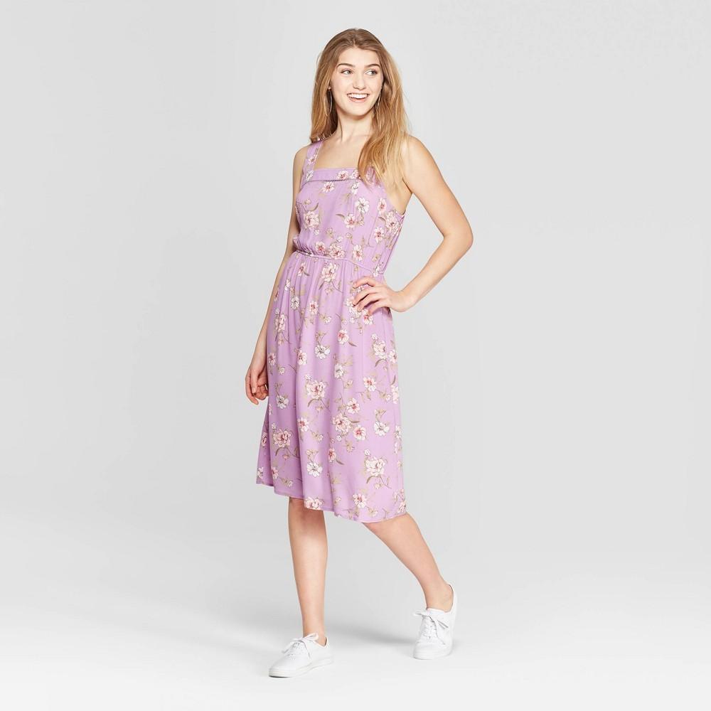 Women's Floral Print Strappy Square Neck Midi Dress - Xhilaration Lavender (Purple) S