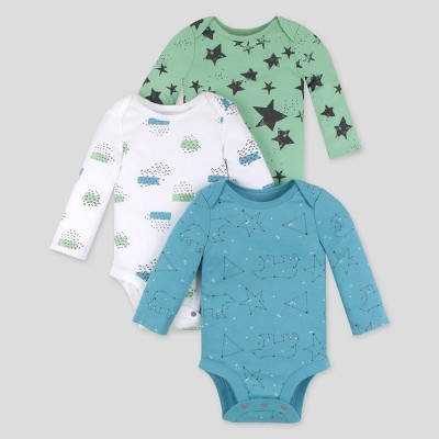 Lamaze Baby 3pk Star Printed Organic Cotton Bodysuit - Blue/Teal 6M