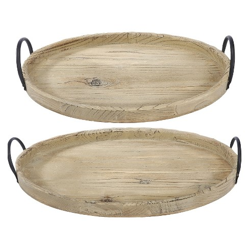 2pc Decorative Wooden Tray Set Brown - A&B Home - image 1 of 3