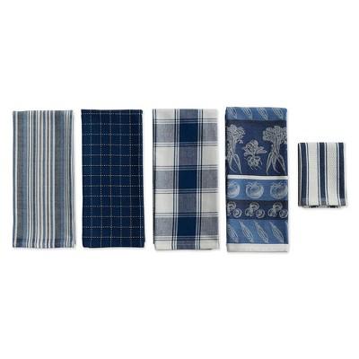 5pc Cotton Kitchen Set Blue - Design Imports