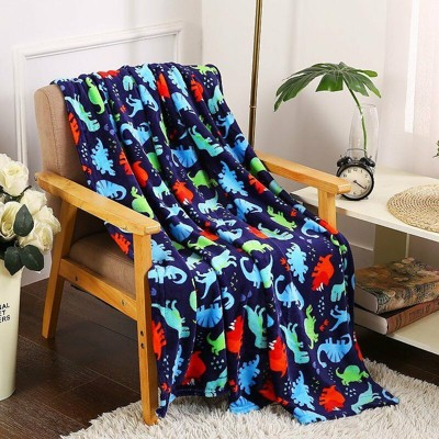 Kate Aurora Ultra Soft & Plush Oversized Dinosaurs Hypoallergenic Throw Fleece Blanket - Multi Color