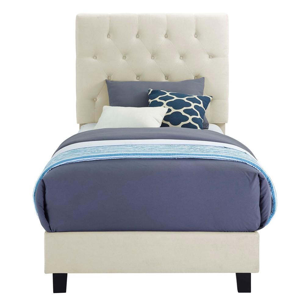 Faye Twin Upholster Bed with Ottoman Set Buckwheat Gold - Picket House Furnishings