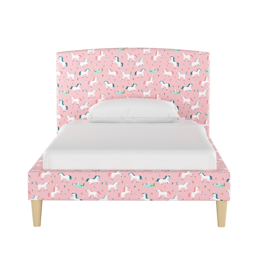 Queen Kids Upholstered Curved Bed Pink Unicorns - Pillowfort
