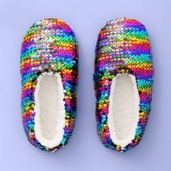Girls' Flip Sequin Slipper Socks - More Than Magic™ Rainbow
