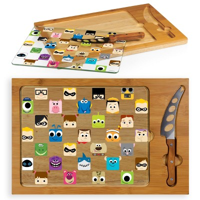 Disney Pixar Collection Icon Glass Top Wood Serving Tray with Knife Set by Picnic Time