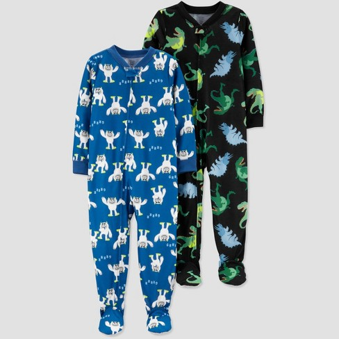 Toddler Boys' 2pk Dino & Monster Footed Pajama - Just One You® made by carter's Black/Blue - image 1 of 1