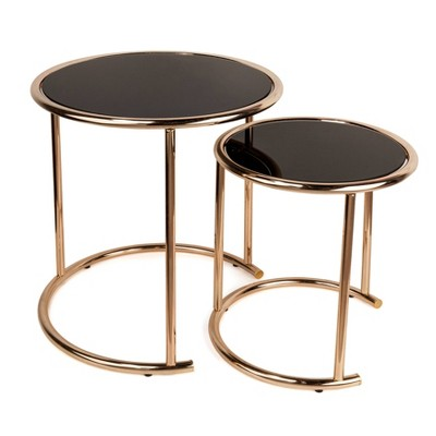 Attirant Danya B. Set Of 2 Nested Round End Tables With Glass Top Metal Frame    Black/ Rose Gold