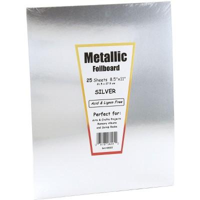 Hygloss Metallic Foilboard, 8-1/2 x 11 Inches, Silver, 25 Sheets