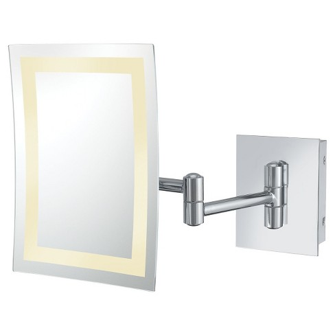 Rectangular Single-Sided LED Lighted Wall Magnified Makeup Mirror - image 1 of 1