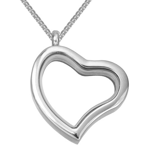 "Women's Treasure Lockets™ Heart Locket in Box Chain - Silver (24"") - image 1 of 1"