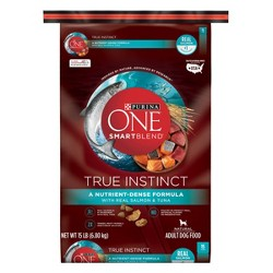 Purina ONE SmartBlend True Instinct with Real Salmon & Tuna Adult Premium Dry Dog Food - 15lbs