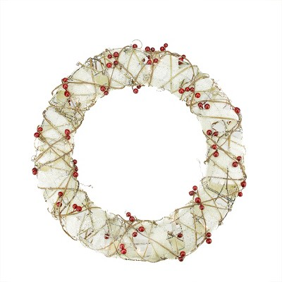 """Northlight 18"""" Prelit Burlap and Berry Rattan Artificial Christmas Wreath - Clear Lights"""