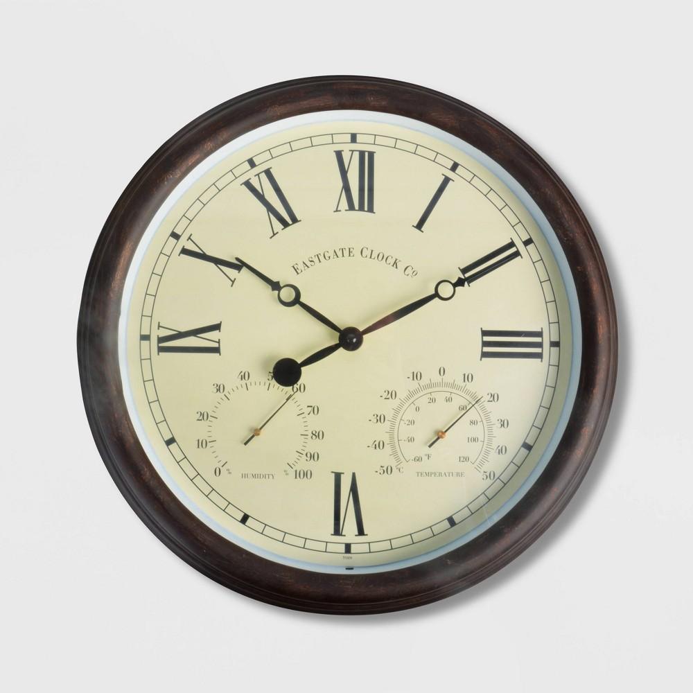 Image of 15 Steel Clock With Roman Numerals Brown - Esschert Design
