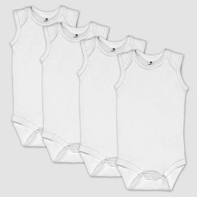 Honest Baby 4pk Organic Cotton Sleeveless Bodysuit - White