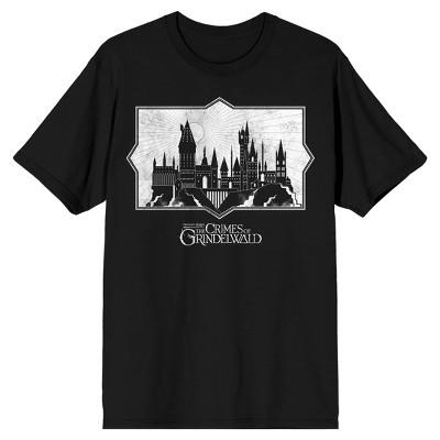 Fantastic Beasts 2 Vintage Castle Silhouette Men's Black Graphic Tee