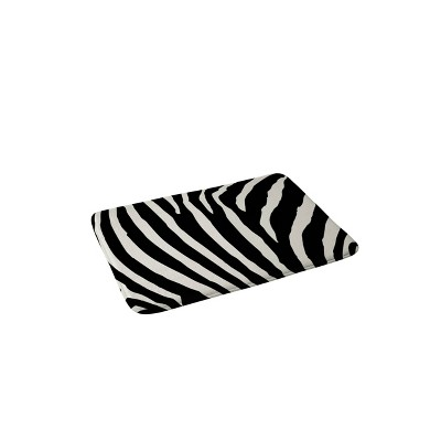 Natalie Baca Zebra Striped Memory Foam Bath Mat Black/White - Deny Designs