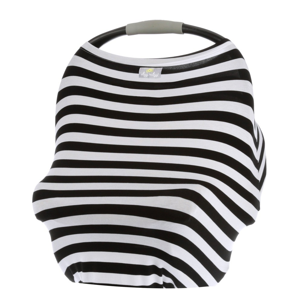 Image of Itzy Ritzy Mom Boss 4in1 Nursing Cover - Black/White Stripe, White Black