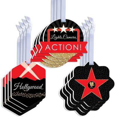Big Dot of Happiness Red Carpet Hollywood - Assorted Hanging Movie Night Party Favor Tags - Gift Tag Toppers - Set of 12