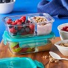 Pyrex Meal Box 4pc 2.1 Cup Rectangular Glass Food Storage Value Pack - Teal - image 4 of 4
