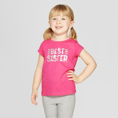 Toddler Girls' Short Sleeve 'Best Sister' Graphic T-Shirt - Cat & Jack™ Pink 12M