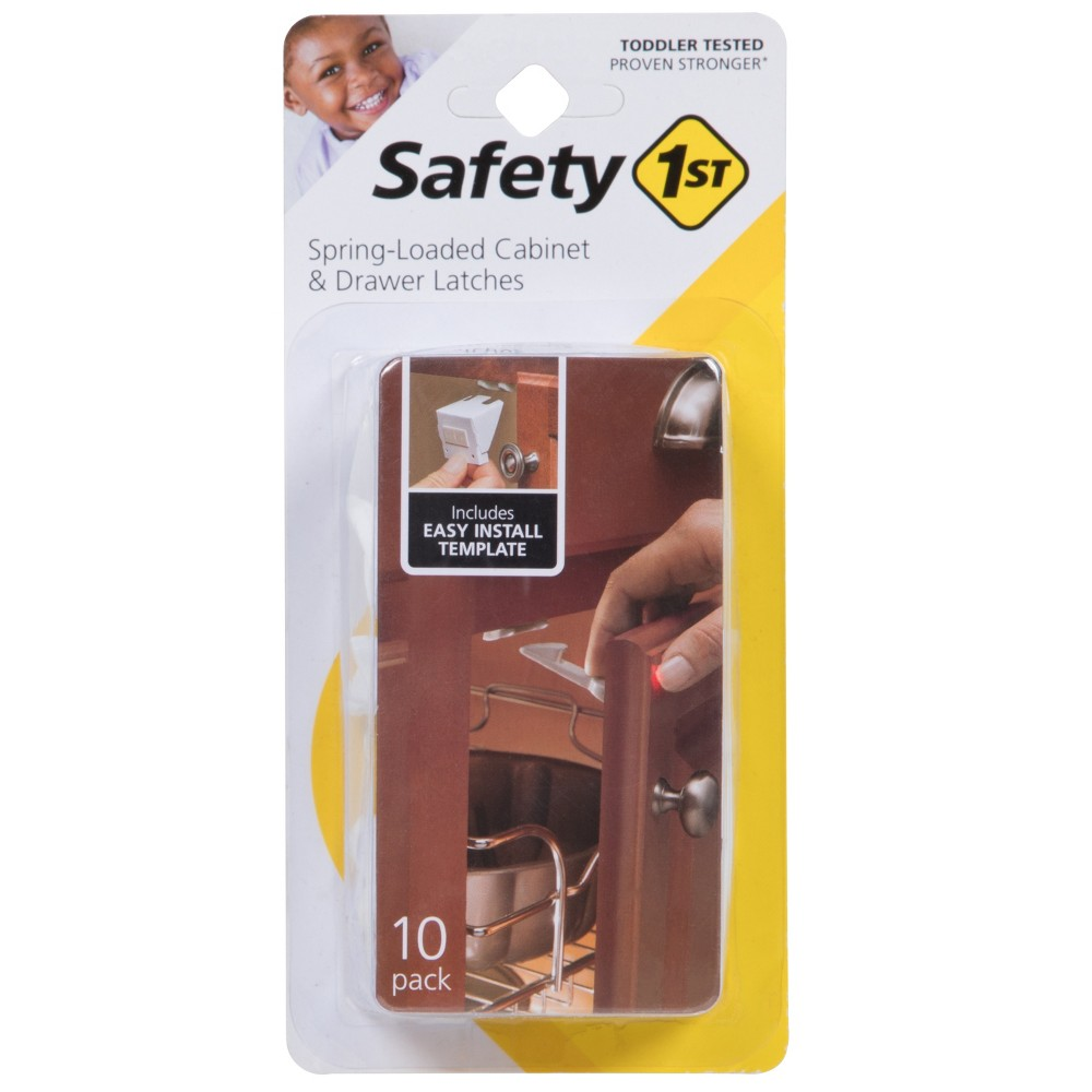 Image of Safety 1st Spring-Loaded Cabinet & Drawer Latches - 10pk