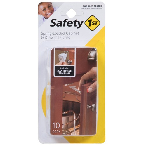 Safety 1st Spring-Loaded Cabinet & Drawer Latches - 10pk, White