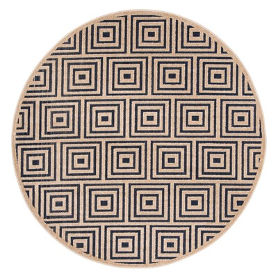 Shale Round 6'7  Indoor/Outdoor Rug - Navy/Cream - Safavieh