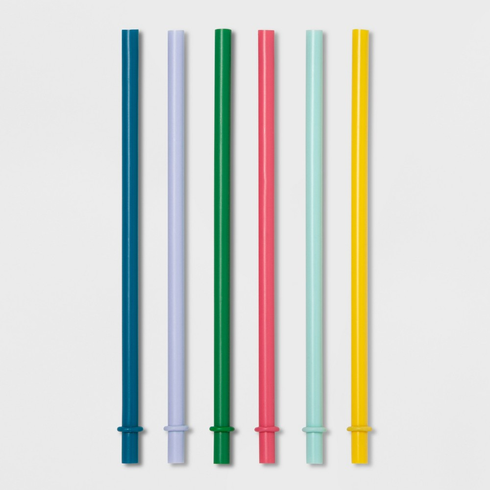 "Image of ""8"""" 6pk Plastic Kids Straws - Pillowfort"""