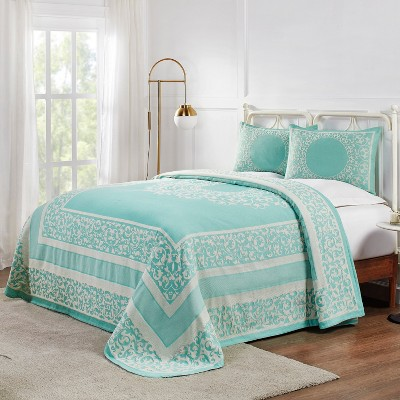 Lightweight Cotton Blend Woven Jacquard Bohemian Mandala 3-Piece Bedspread Set, Queen, Turquoise  - Blue Nile Mills