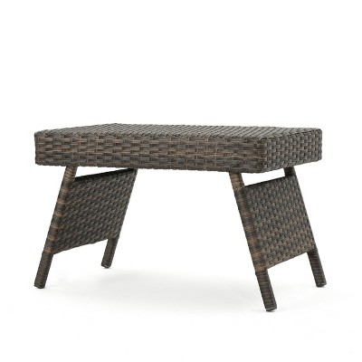 Thira Wicker Adjustable Folding Side Table - Mocha - Christopher Knight Home