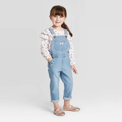 OshKosh B'gosh Toddler Girls' Embroidered Overall - Blue 2T