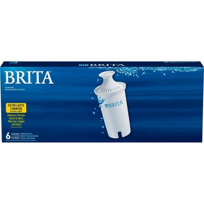 Brita Standard BPA Free Replacement Water Filters for Pitchers and Dispensers - 6ct