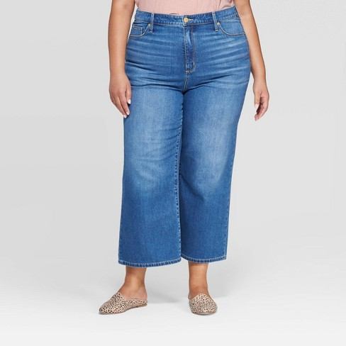 Women's Plus Size Mid-Rise Wide Leg Cropped Jeans - Universal Thread™ Medium Wash - image 1 of 3