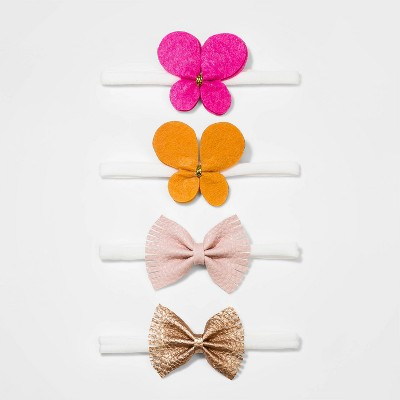 Baby Girls' 4pk Butterfly Thin Headband Set - Cat & Jack™ Pink/Yellow/Cream