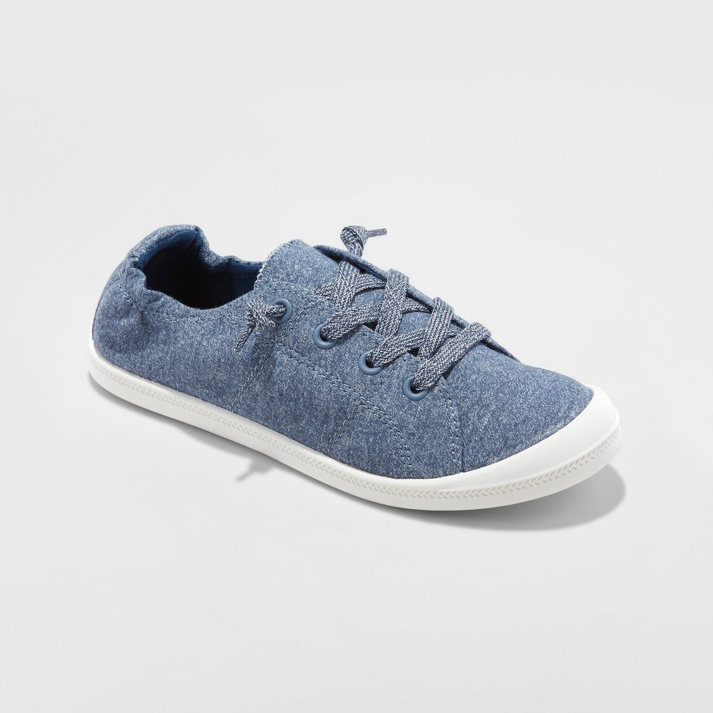 Women's Mad Love Lennie Flexible Bottom Lace Up Canvas Sneakers - Heathered Navy 8