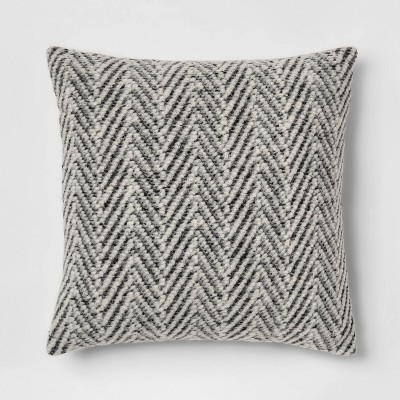 Square Knit Herringbone Throw Pillow Gray - Threshold™