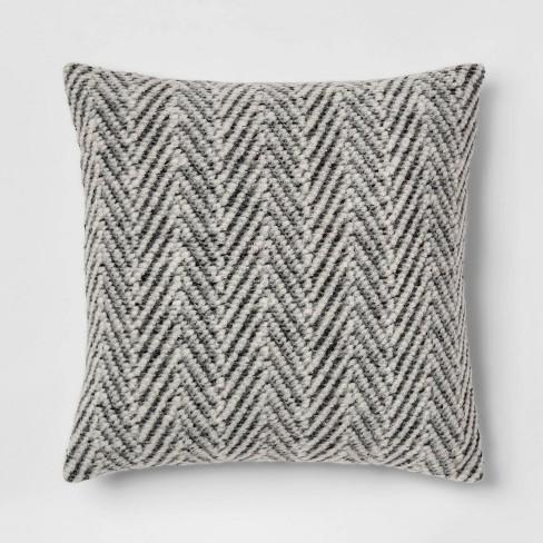 Square Knit Herringbone Throw Pillow Gray - Threshold™ - image 1 of 3