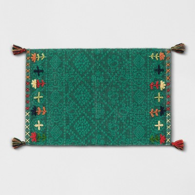 Green Embroidered Tasseled Woven Accent Rug 2'X3' - Opalhouse™