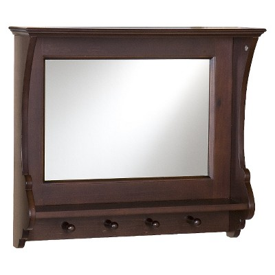 Entryway Mirror with Hooks - Brown 21