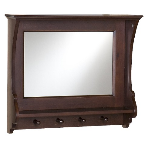 Entryway Mirror With Hooks Brown 21
