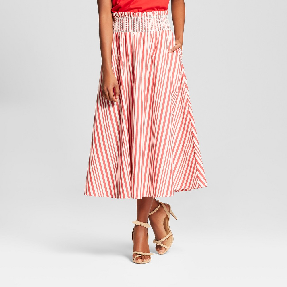 Women's Striped Smocked Waist Midi Skirt - Who What Wear Red XS, Red Stripe