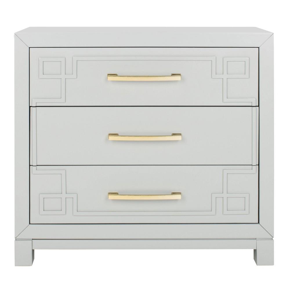 Raina 3 Drawer Chest Grey/Gold - Safavieh, Gray